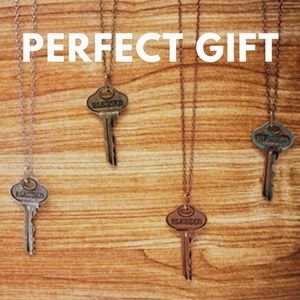 Bronze Rose Gold Blessed Key Pendant Necklace